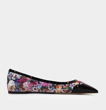 Elvina Black Patent/Multi Tapestry Print Canvas