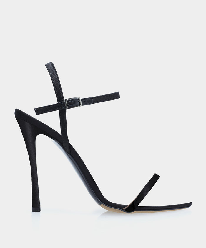 Eve Black Satin Open Toe Strappy Heeled Sandal