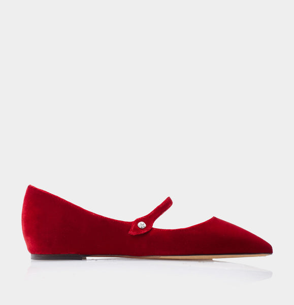 Hermione Red Velvet Pointed Flat Mary Jane