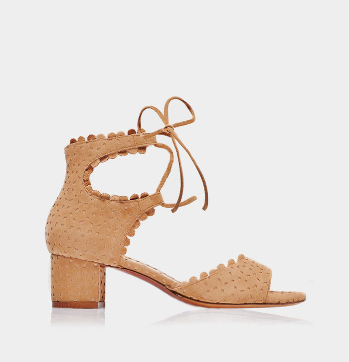 Tallulah Camel Perforated Splitsuede