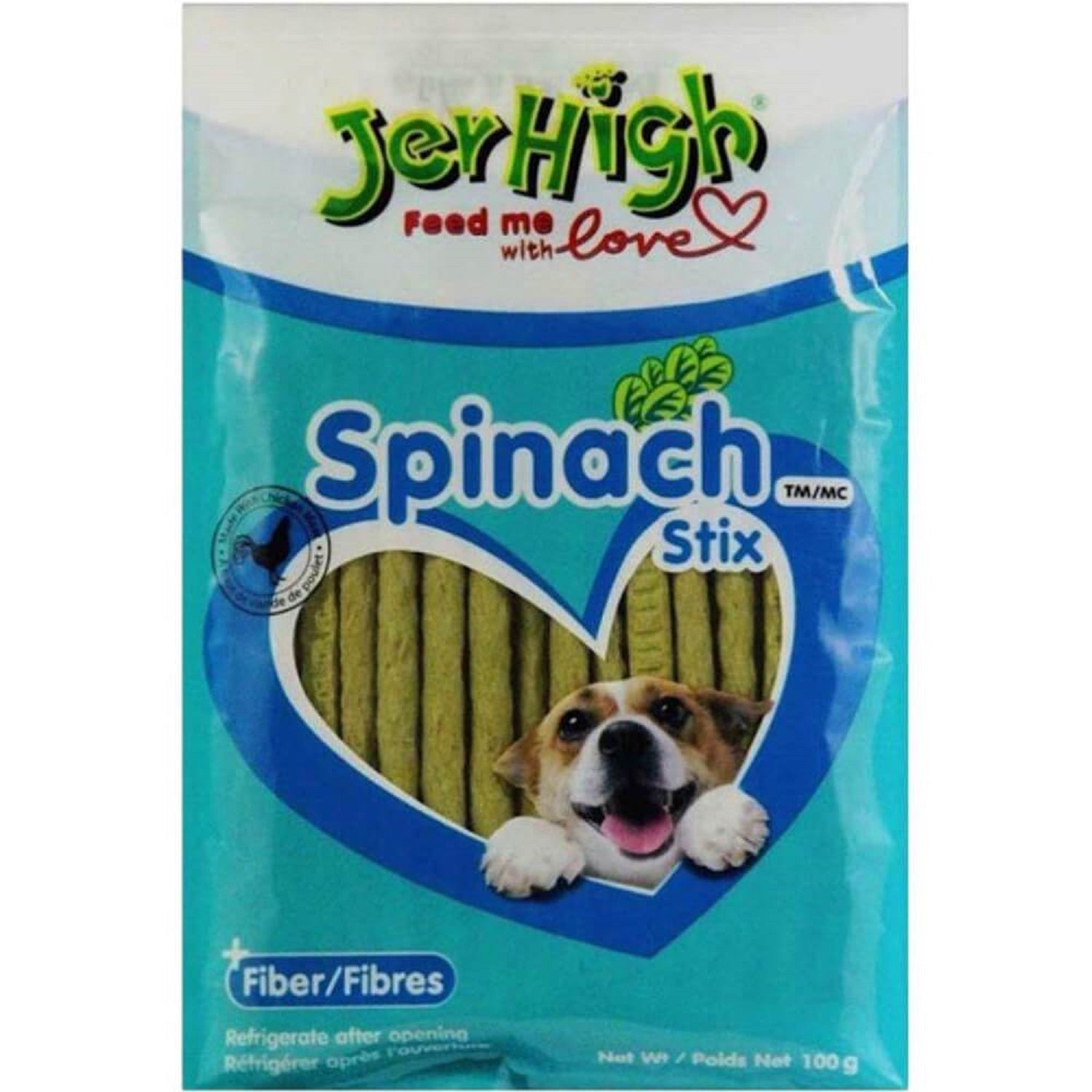 Jerhigh Spinach Style Stix with Real Chicken Dog Treat 100 g - pet-club-india