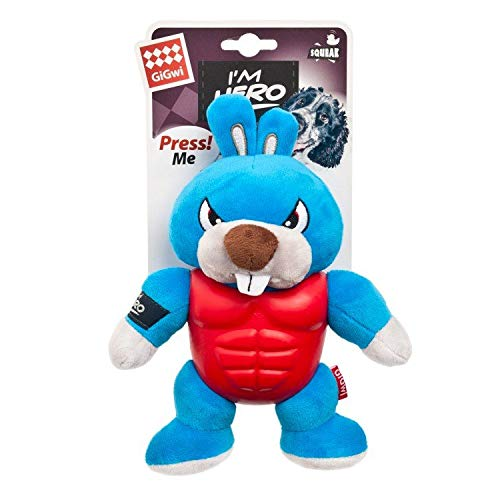 GiGwi I'm Hero TPR Armor Rabbit with Squeaker Dog Toy - pet-club-india