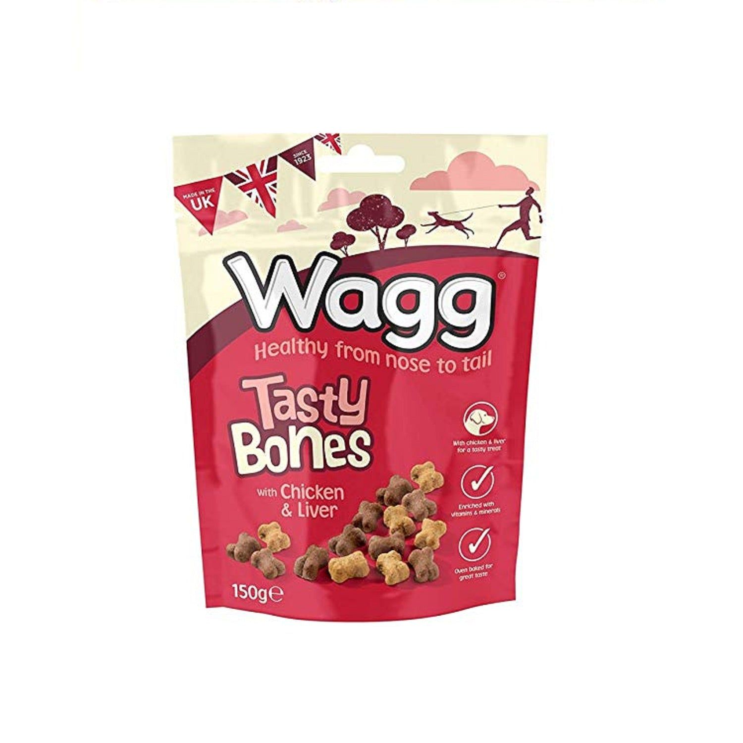 Wagg Chicken & Liver Tasty Bones Dog Treats 150 g - pet-club-india