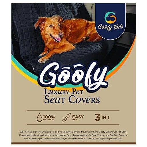 Goofy Tails Pet Car Seat Cover For Dog & Cats-Black - pet-club-india