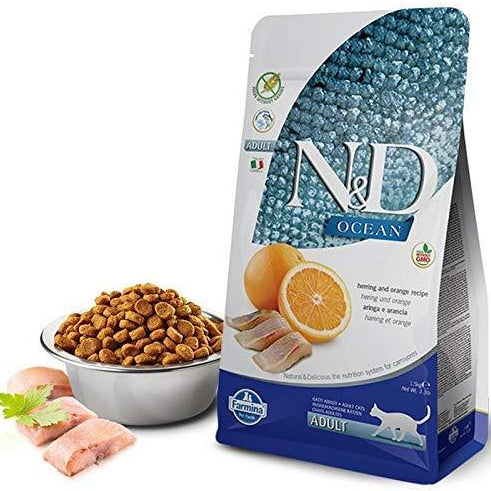 Farmina N&D Grain Free Ocean Herring & Orange Adult Cat Food - pet-club-india