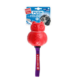 GiGWI Owl 'Push to Mute' Squeaky Chew Dog Toy (Red/Purple 28 cm) - pet-club-india