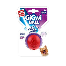 GiGwi Solid Transparent Red/Purple Squeaky Ball Dog Toy - pet-club-india