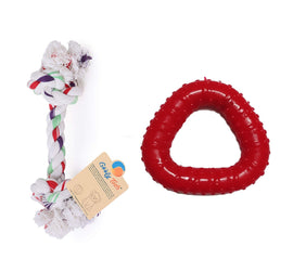 Goofy Tails Dog Chew Toy Combo (Cotton Bone and Trio Ring) Small - pet-club-india