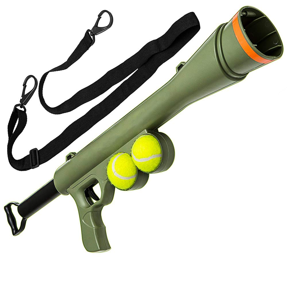 Goofy Tails Bazooka Ball Launcher Gun with 2 Pcs Tennis Ball & Strap for Dogs - pet-club-india