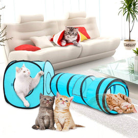 Pawise Fold-able Indoor Outdoor Pop Up Play Tunnel For Cat - pet-club-india