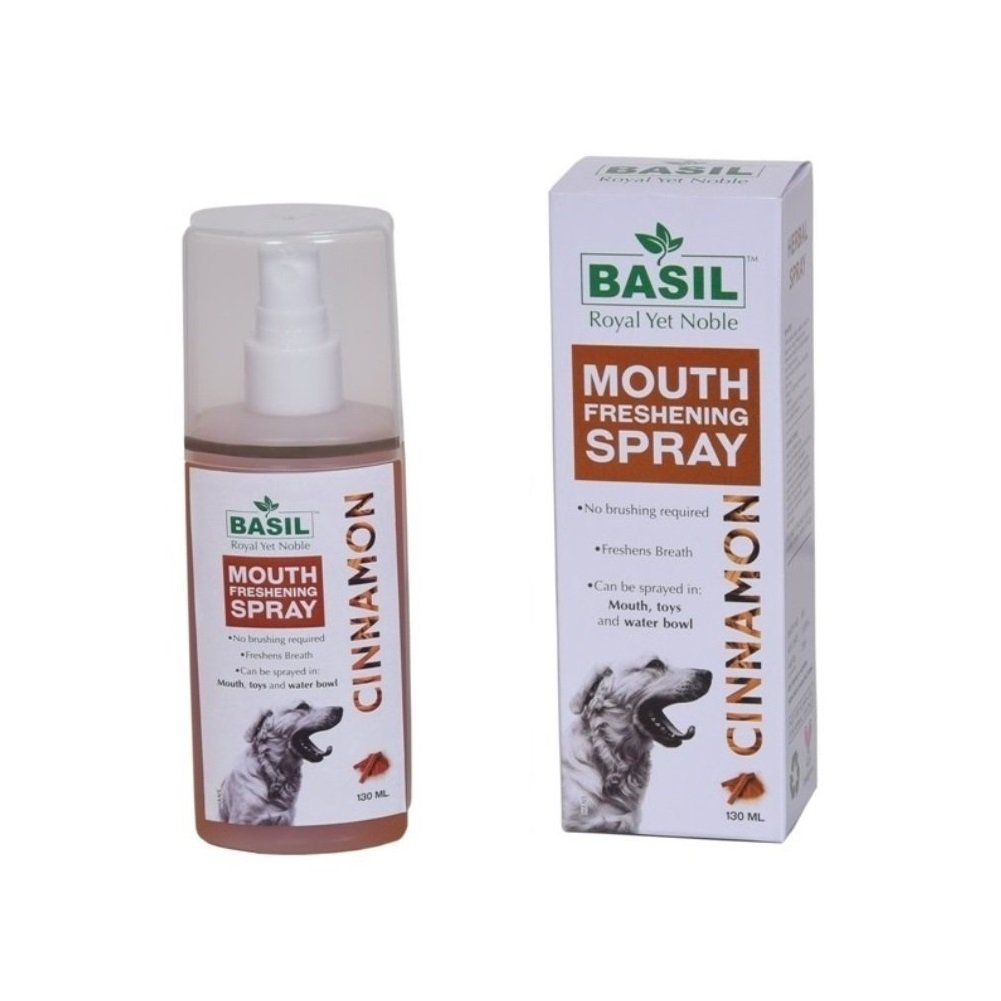 Basil Dog Mouth Freshening Spray, Cinnamon, 130 ml - pet-club-india
