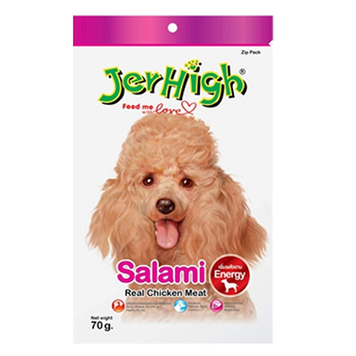 Jerhigh Salami Real Chicken Dog Treat 70 g - pet-club-india