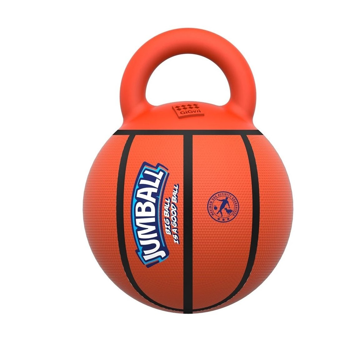 Gigwi Jumball with Rubber Handle Basket Ball Dog Toy (8 inch) for Medium/Large Dog - pet-club-india