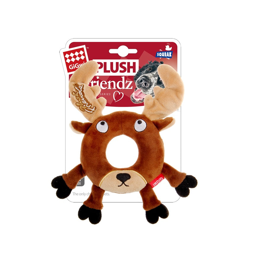 Gigwi Plush Friendz W/Foam Rubber Ring Deer Dog Toy - pet-club-india