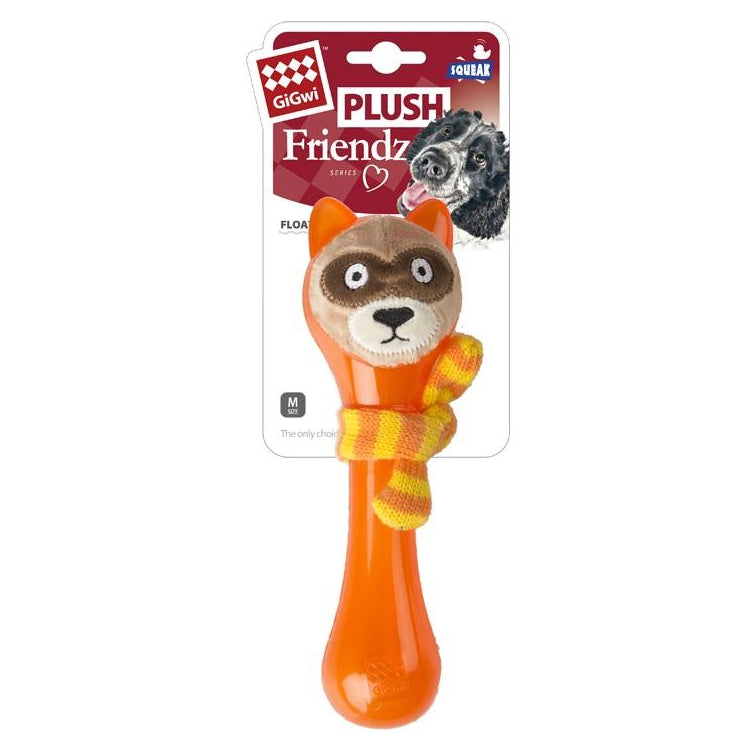 GiGwi Plush Friendz Coon with TPR Stick+Knitting Scarf Dog Toy - pet-club-india