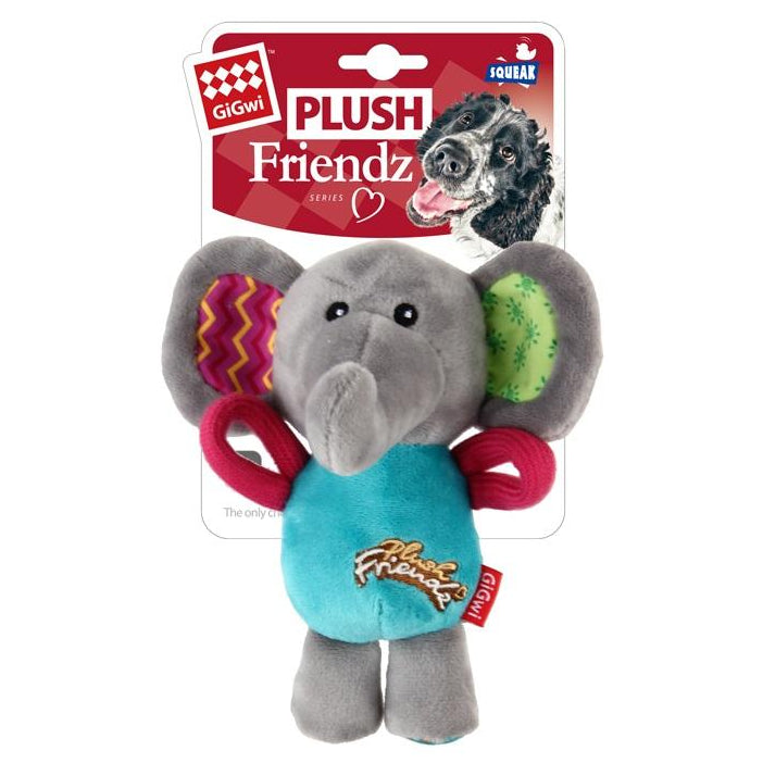 GiGwi 'Plush Friendz' Elephant Squeaky Dog Toy - pet-club-india