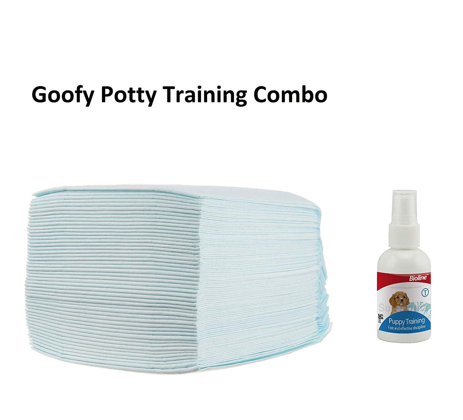 Goofy Tails Puppy Training Potty Pad with Bioline Training Spray for Dog