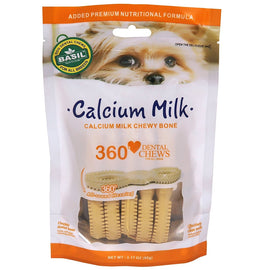 Basil Calcium Milk Dental Chews Dog Treat, 90 gm - pet-club-india