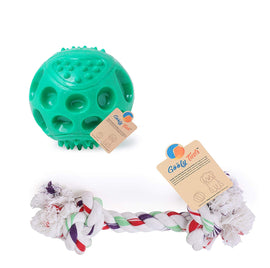 Goofy Tails Non-Toxic Chew Dog Toy Combo (Cotton Bone + Hard Squeaky Ball-Medium) - pet-club-india