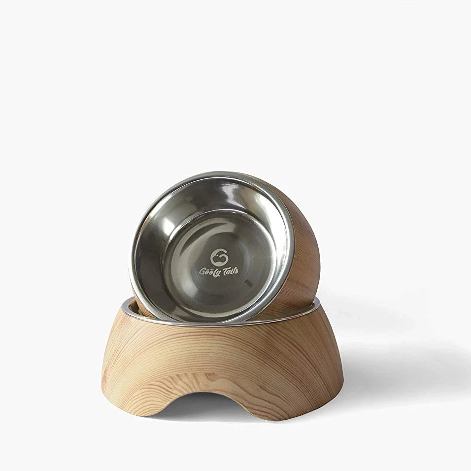 Goofy Tails Premium Quality Wooden Dog Food Bowl - pet-club-india