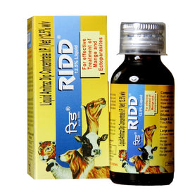 Ridd Anti Tick and Flea Solution 12.5% for Effective Treatment Of Mange and Ectoparasites - pet-club-india