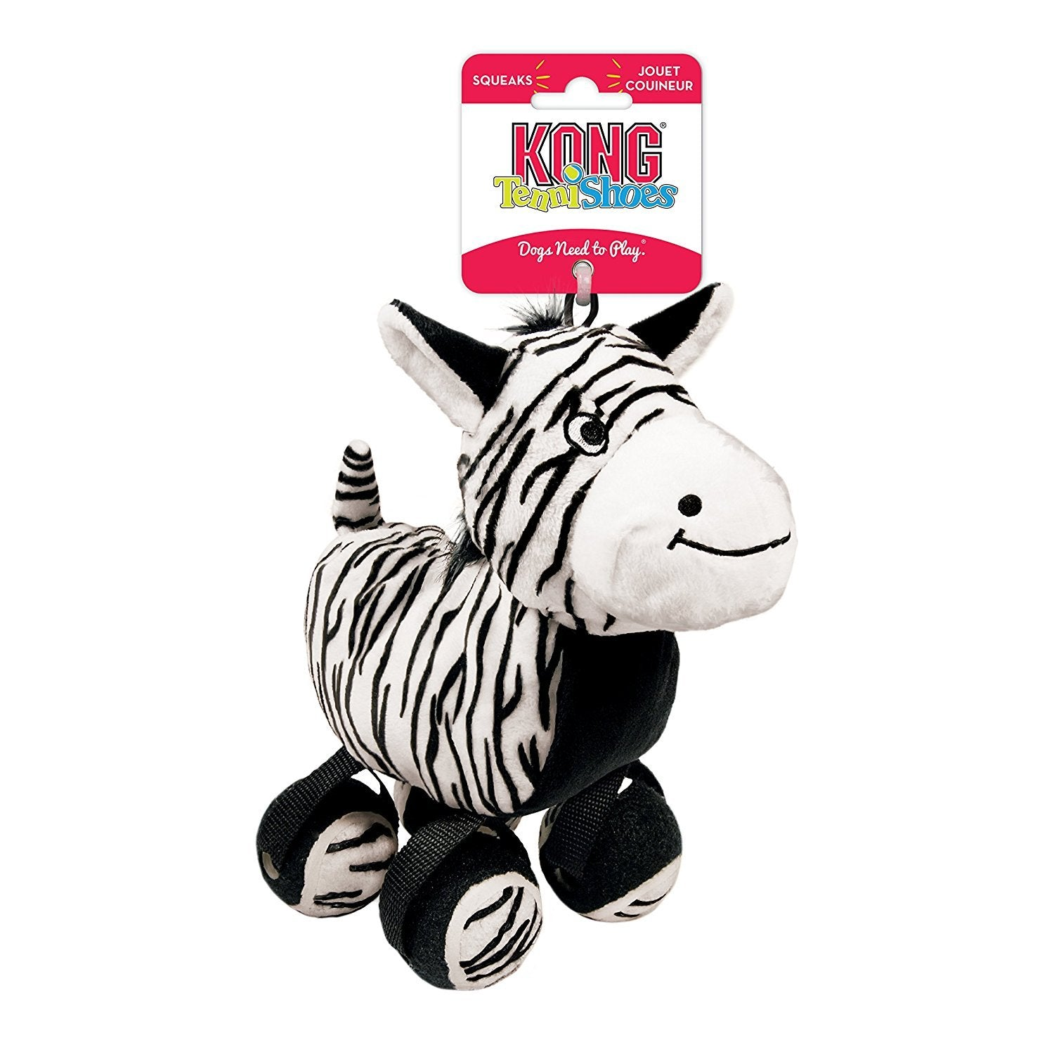 Kong TenniShoes Zebra Squeaky Small Dog Toy - pet-club-india