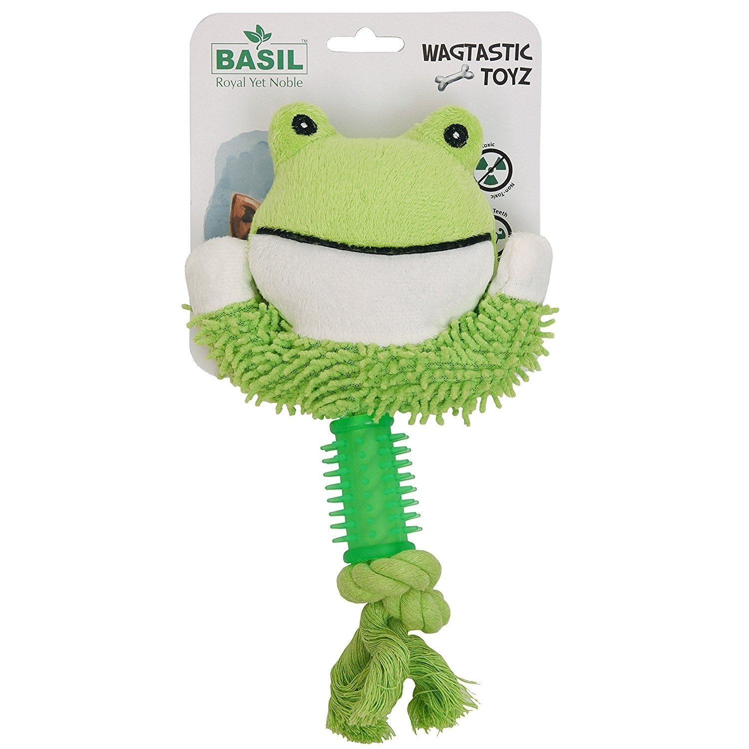 Basil Squeaky Frog Face with Rope Plush Dog Toy - pet-club-india
