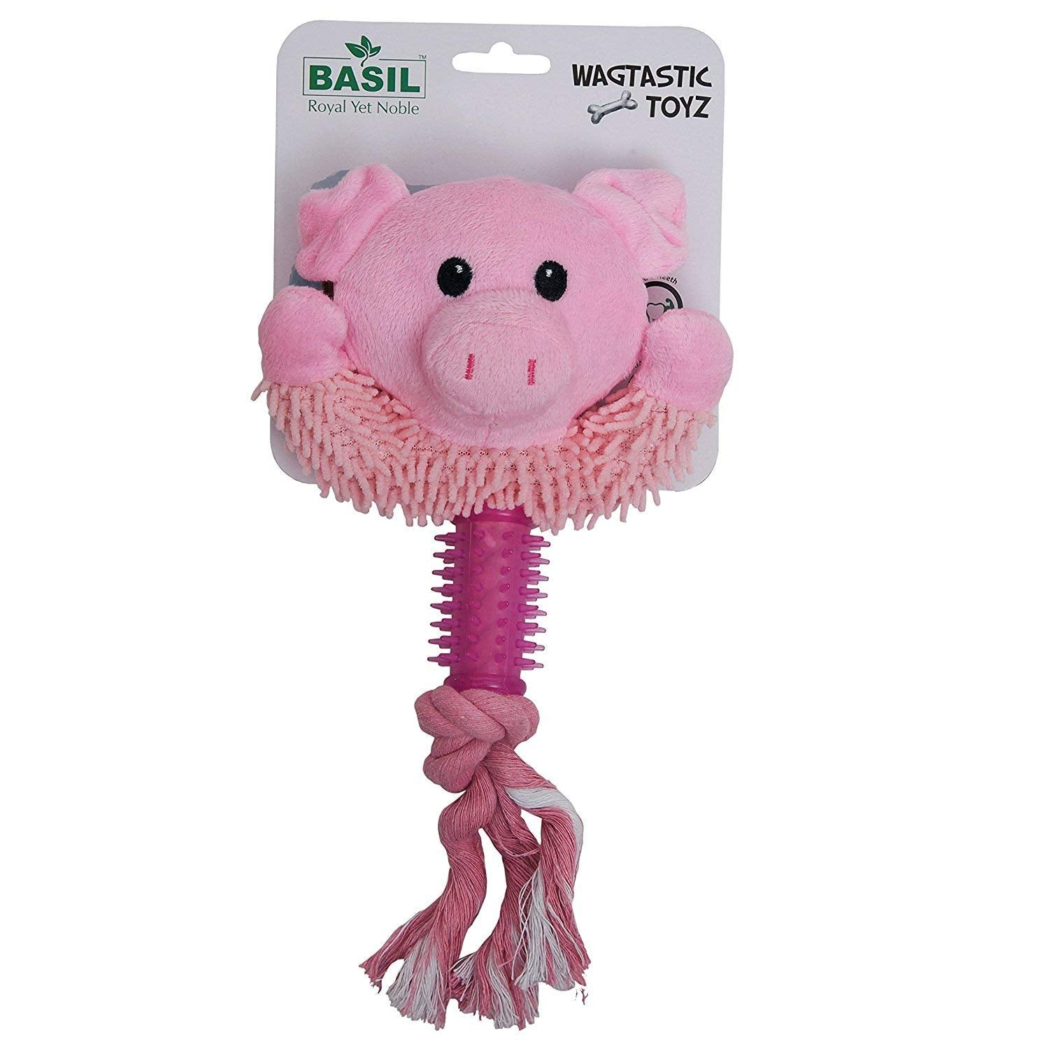 Basil Squeaky Pig Face with Rope Plush Dog Toy - pet-club-india