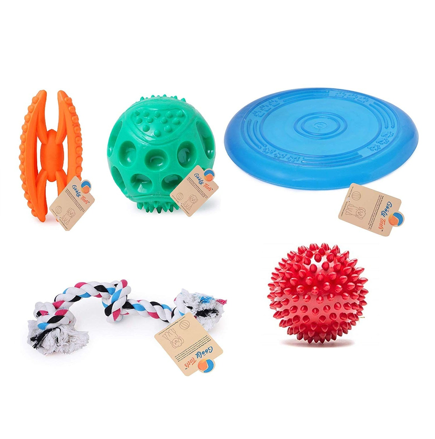 Goofy Tails Natural Rubber Chew,Teething Toys,Interactive, Dog Chew Combo for Medium Dog Toys - pet-club-india