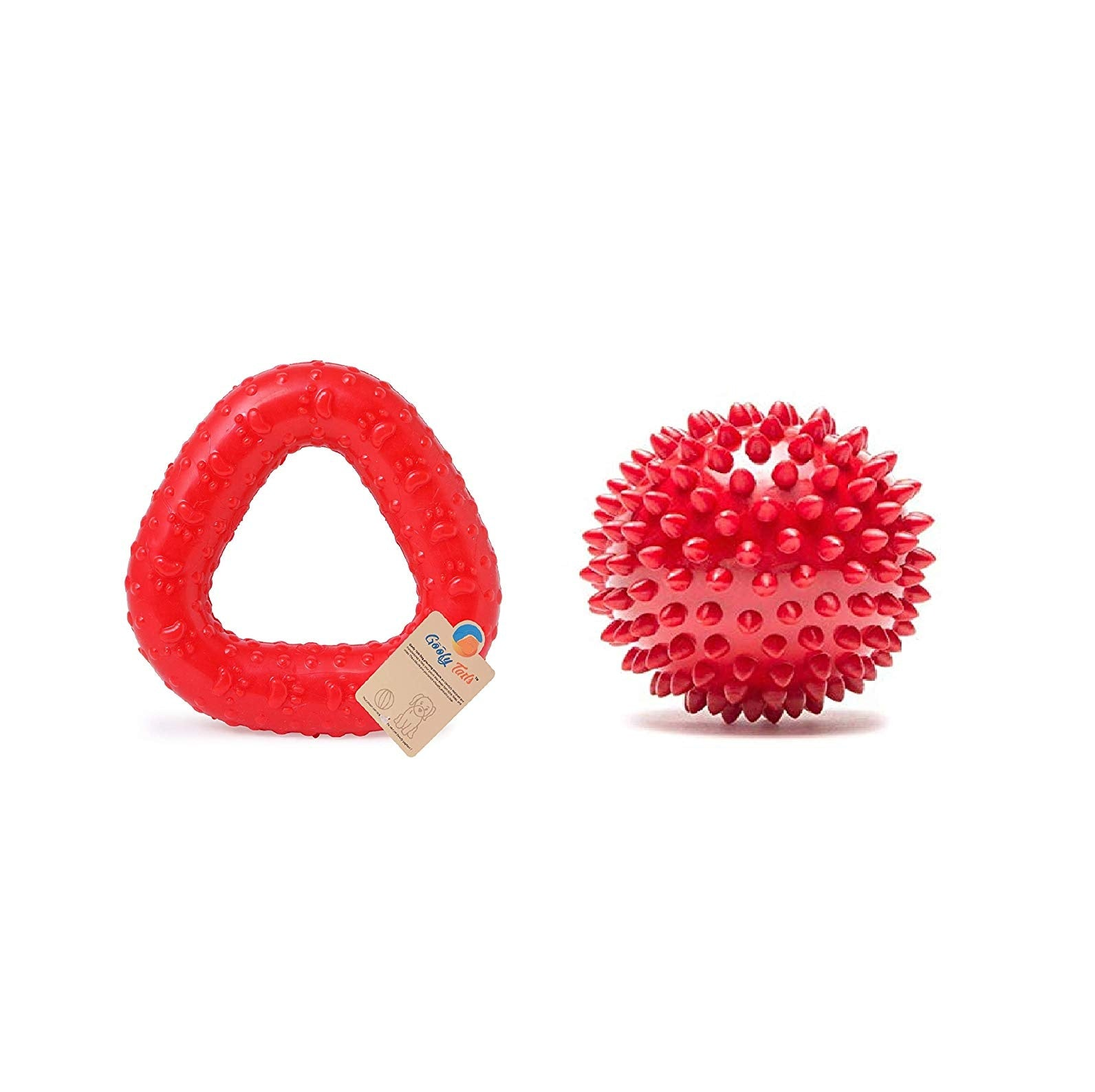 Goofy Tails Rubber Chew Dog Toy Combo of (Spike Ball and Trio Ring)