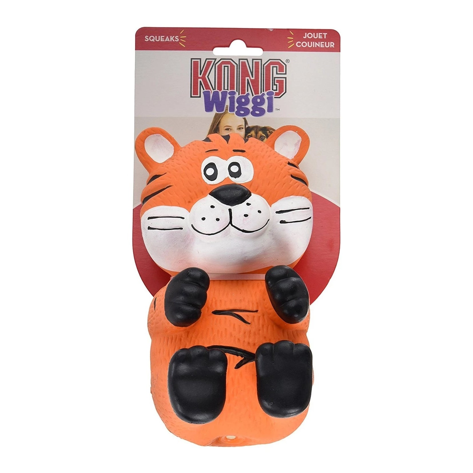 Kong Wiggi Tiger Squeaky Dog Toy - pet-club-india