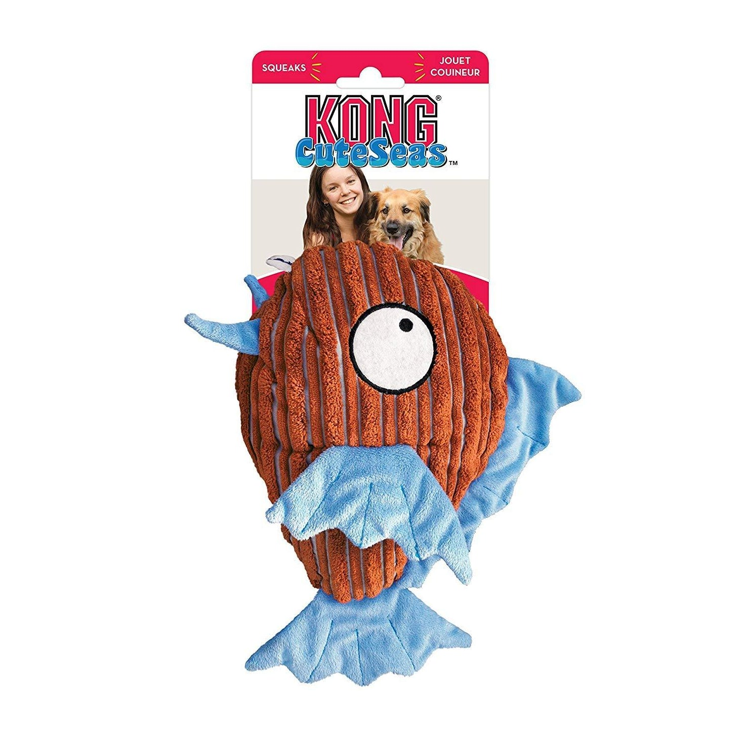 Kong Cuteseas Fish Medium Squeaky Dog Toy - pet-club-india