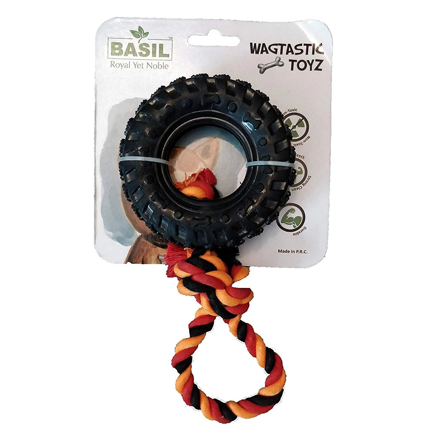 Basil Pull Tyre Ring with Cotton Rope Dog Chew Toy - pet-club-india