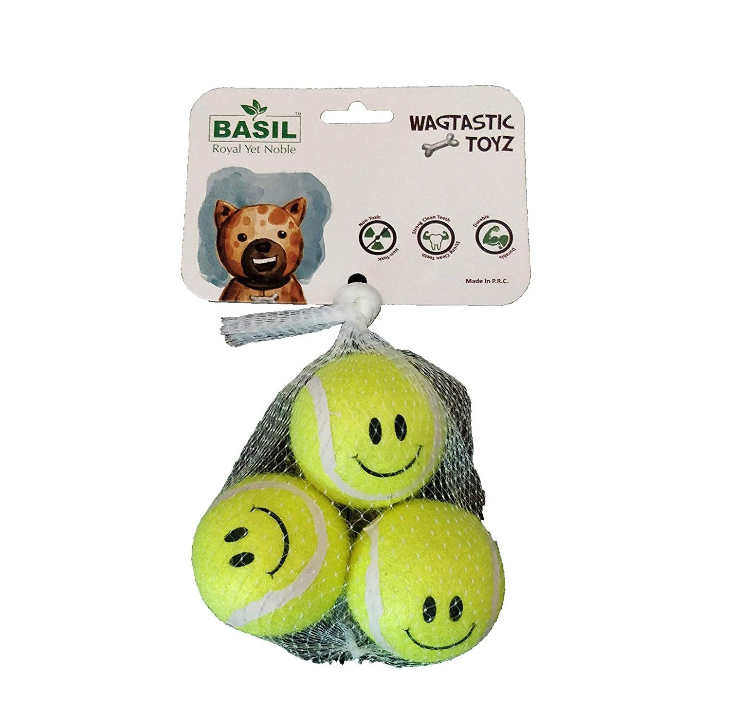 Basil Smiley Sports Tennis Balls for Dog (Pack of 3) - pet-club-india