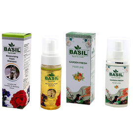 Basil Pet Grooming Care Combo Foam Shampoo + Pet Perfume Garden Fresh - pet-club-india