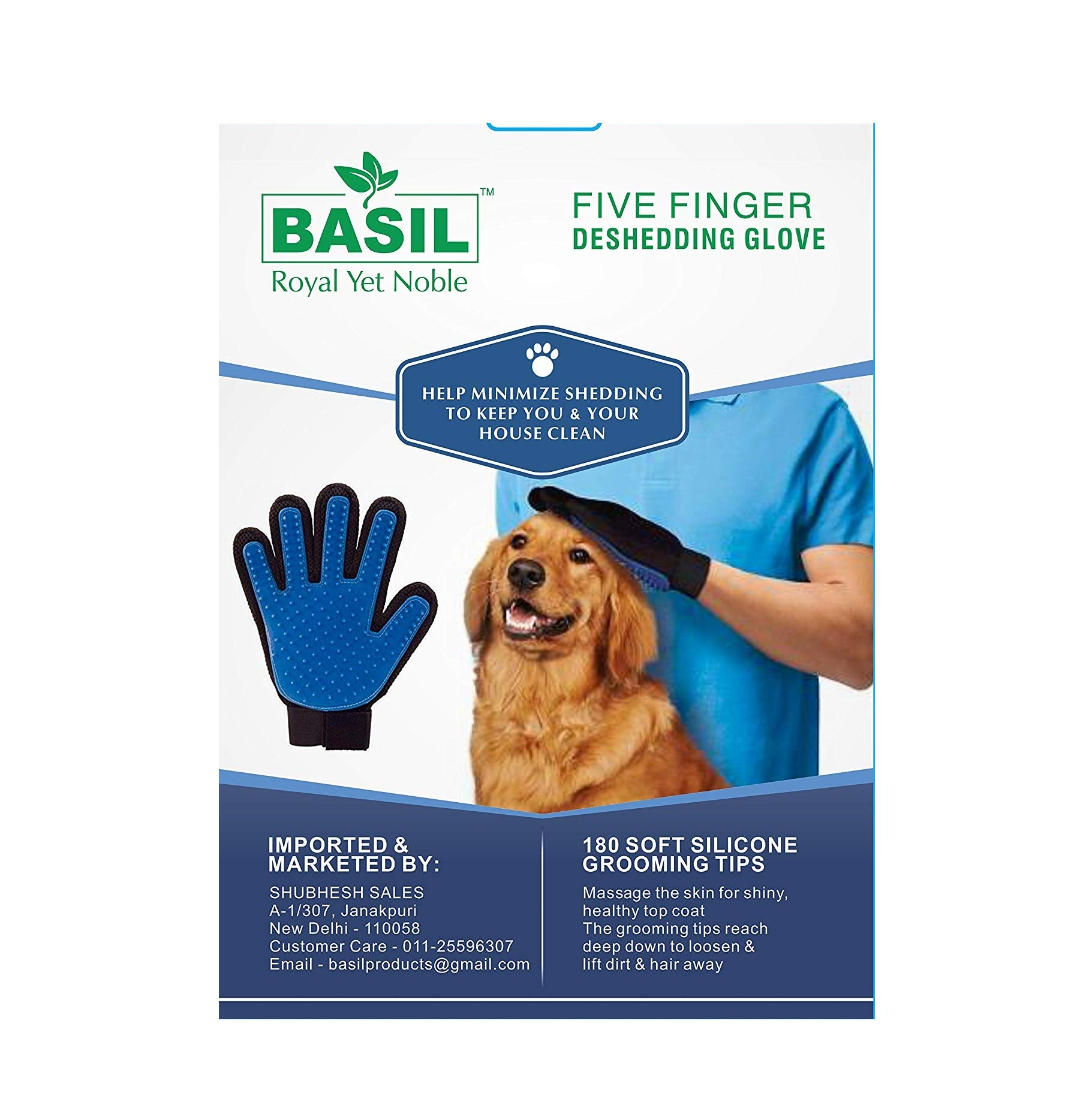 Basil Five Finger Deshedding Glove for Dogs and Cats - pet-club-india