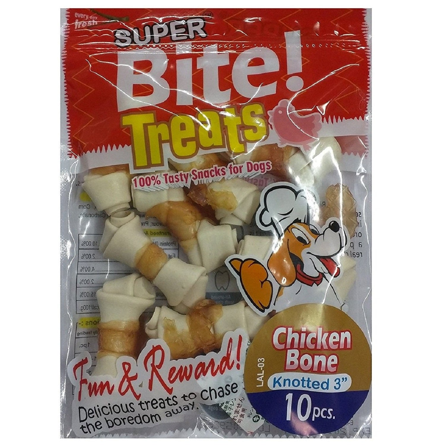 Super Bite Knotted Chicken Bone 3 Inch Dog Treat 10 pcs - pet-club-india