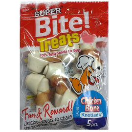 Super Bite Knotted Chicken Bone 4 inch Dog Treat - pet-club-india