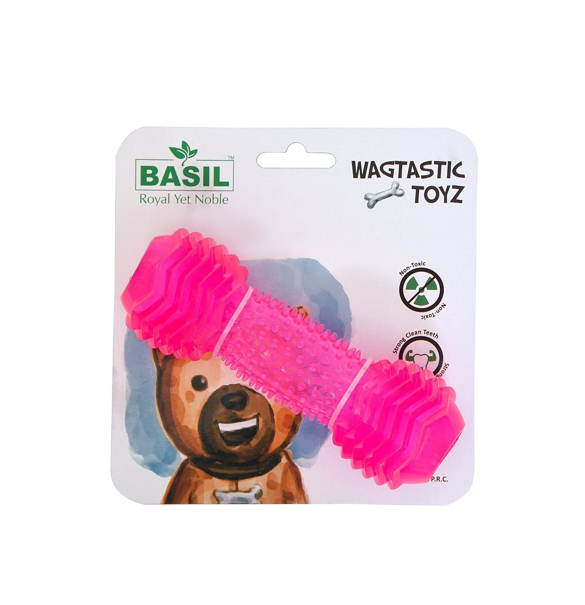 Basil Spiky Dumbbell with Hole Rubber Chew Dog Toy - pet-club-india