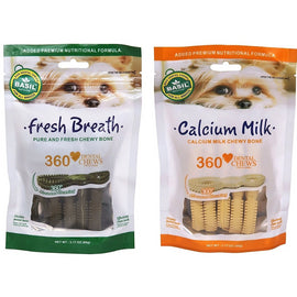 Basil Calcium Milk and Fresh Breath Combo Dental Chew Dog Treat 90 gm - pet-club-india