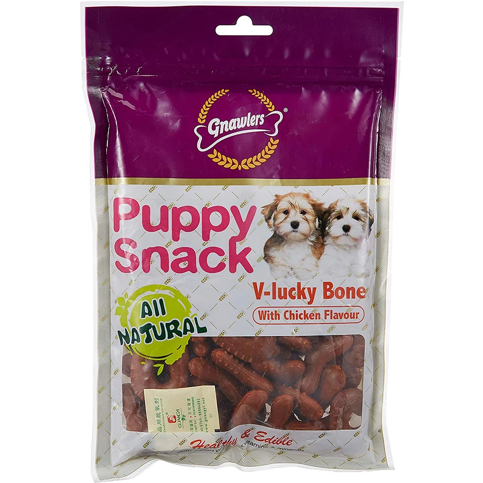Gnawlers Chicken V-Lucky Bone Dogs Treat, 30 Pcs-270g - pet-club-india