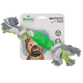 Basil Cotton Bone with Rubber Chew Dog Toy - pet-club-india