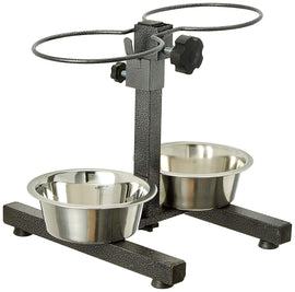 Goofy Tails Adjustable Stand with 2 Pcs Stainless Steel Bowl (Medium) - pet-club-india