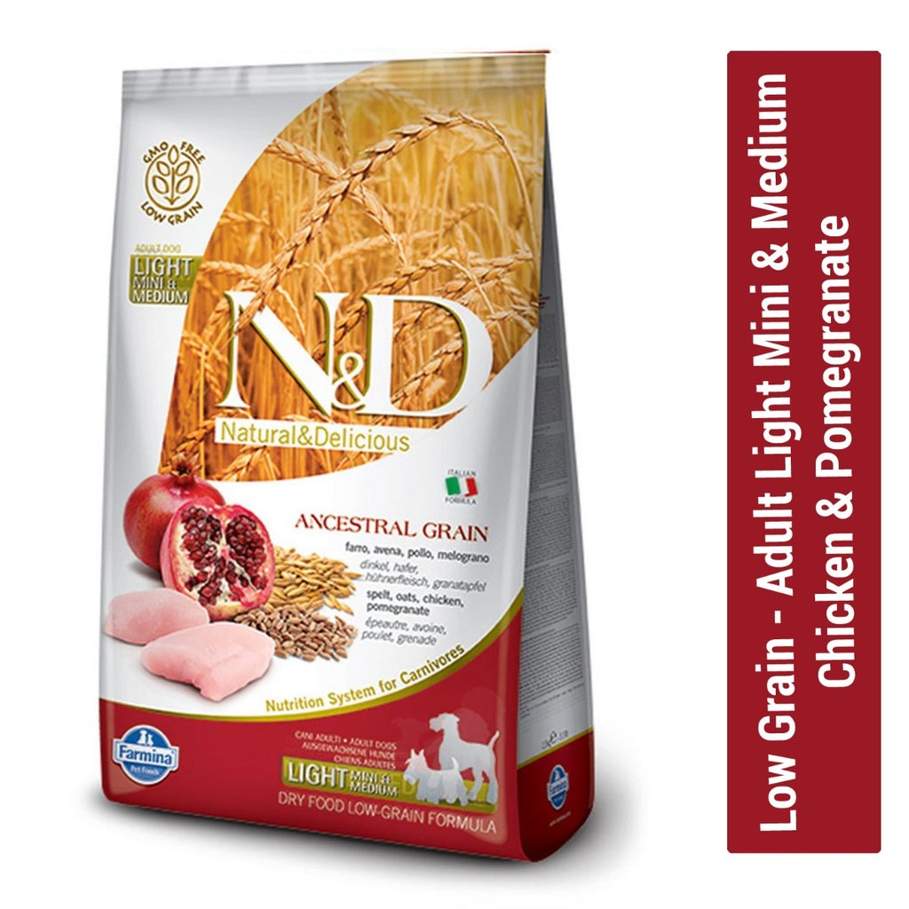 Farmina N&D Low Grain Chicken and Pomegranate Adult Light Mini & Medium Dog Food 2.5 Kg - pet-club-india