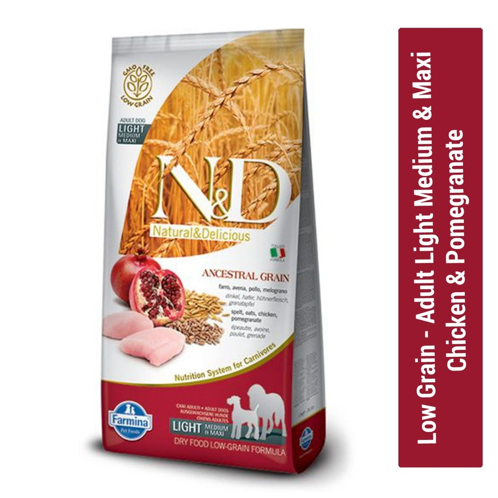 Farmina N&D Low Grain Chicken and Pomegranate Adult Light Medium & Maxi Dog Food 12 Kg - pet-club-india
