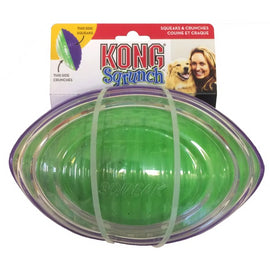 Kong Sqrunch Football Squeaks & Crunches Dog Toy - pet-club-india