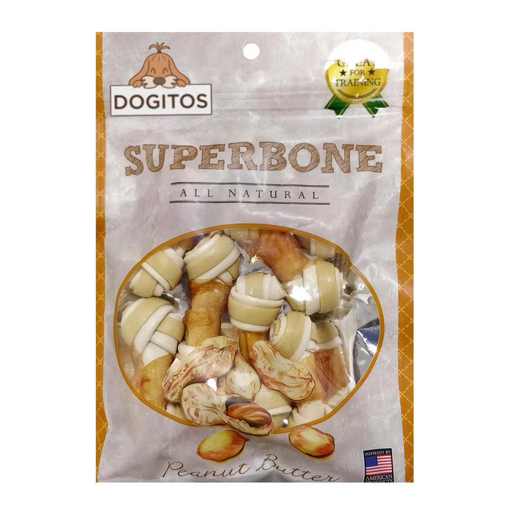 Dogitos Knotted Chicken Superbone with Peanut Butter 7 in 1 Dog Treat (185 gm)