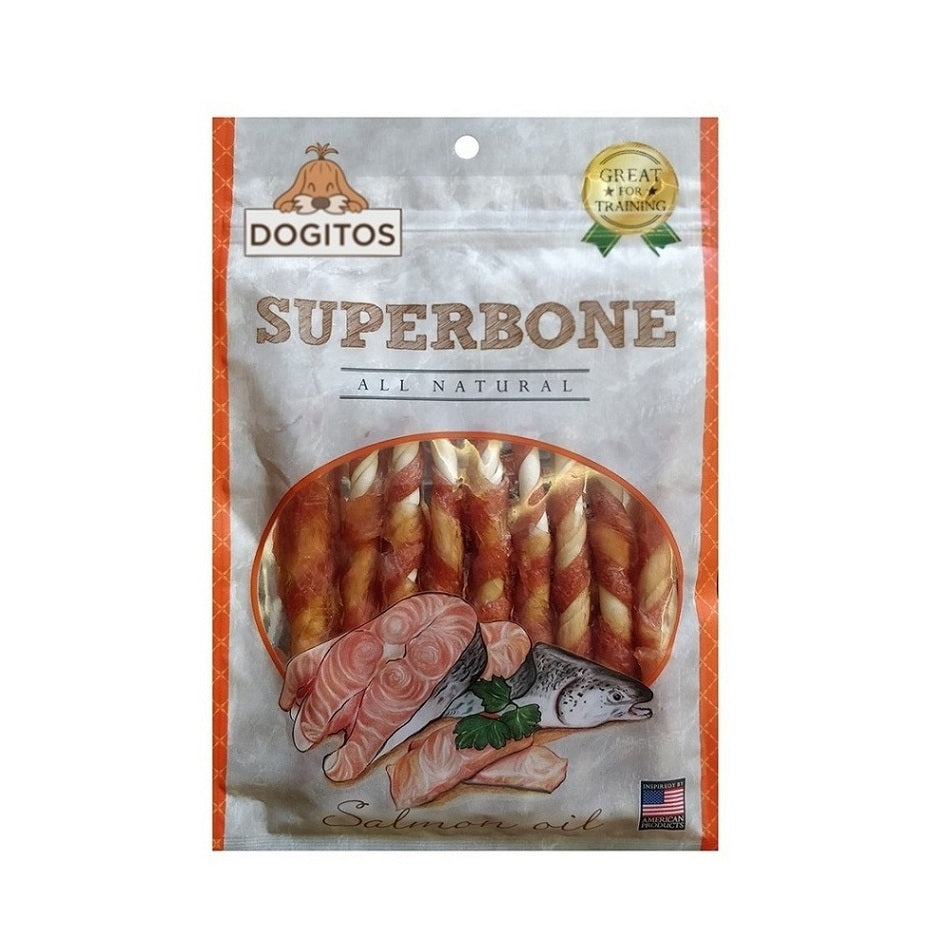 Dogitos Knotted Chicken Superbone Stick with Salmon Oil 7 in 1 Dog Treat (145 gm)