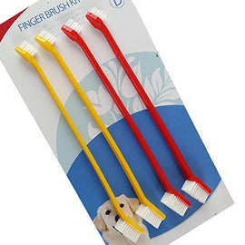 Bioline Dual Head Pet Finger Toothbrush Set 4 Pcs - pet-club-india