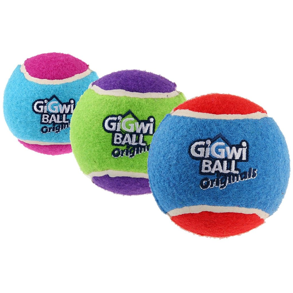 Gigwi Originals Tennis Ball Squeaky Dog Toy (Pack of 3) - pet-club-india